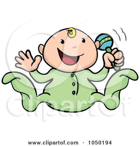 Royalty-Free (RF) Clip Art Illustration of a Happy Baby Playing With A Rattle by AtStockIllustration