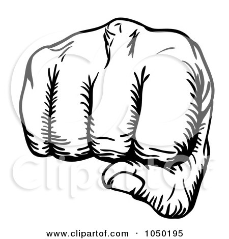 Royalty-Free (RF) Clip Art Illustration of a Black And White Fist Punching by AtStockIllustration