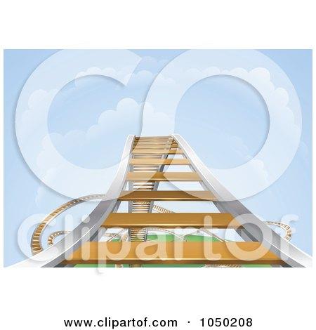 Royalty-Free (RF) Clip Art Illustration of a Rising Roller Coaster by AtStockIllustration