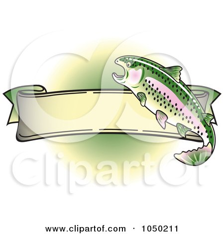 Royalty-Free (RF) Clip Art Illustration of a Blank Rainbow Trout Banner Over Green - 3 by Andy Nortnik