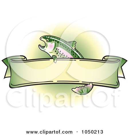 Royalty-Free (RF) Clip Art Illustration of a Blank Rainbow Trout Banner Over Green - 5 by Andy Nortnik