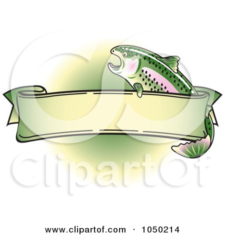Royalty-Free (RF) Clip Art Illustration of a Blank Rainbow Trout Banner Over Green - 2 by Andy Nortnik