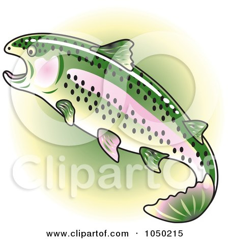 Royalty-Free (RF) Clip Art Illustration of a Rainbow Trout Over Green by Andy Nortnik