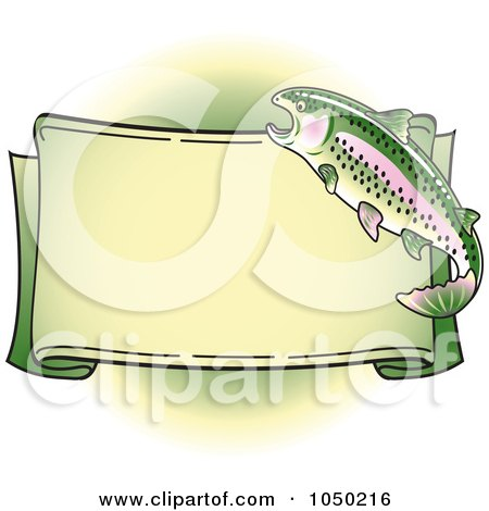 Royalty-Free (RF) Clip Art Illustration of a Blank Rainbow Trout Banner Over Green - 1 by Andy Nortnik