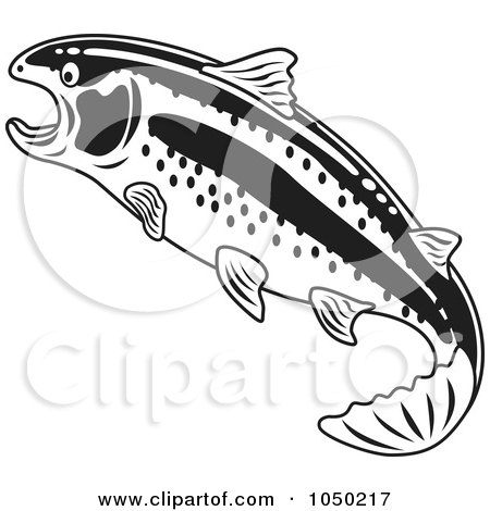 Royalty-Free (RF) Clip Art Illustration of a Black And White Rainbow Trout by Andy Nortnik