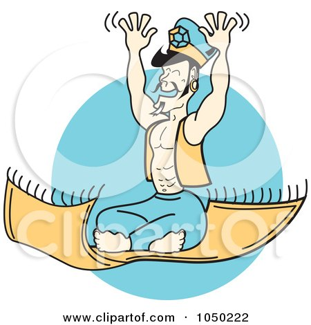 Royalty-Free (RF) Clip Art Illustration of a Genie Riding On A Magic Flying Carpet by Andy Nortnik