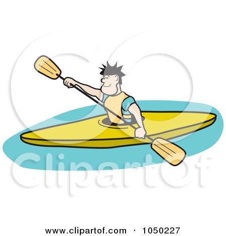Royalty-Free (RF) Clip Art Illustration of a Man Kayaking by Andy Nortnik