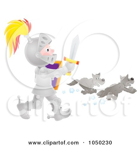 Royalty-Free (RF) Clip Art Illustration of a Boy Knight Chasing Away Wolves by Alex Bannykh