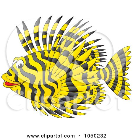 Royalty-Free (RF) Clip Art Illustration of a Black And Yellow Marine Fish by Alex Bannykh