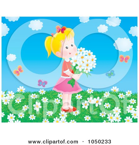 Royalty-Free (RF) Clip Art Illustration of a Girl Holding Flowers In A Spring Field by Alex Bannykh