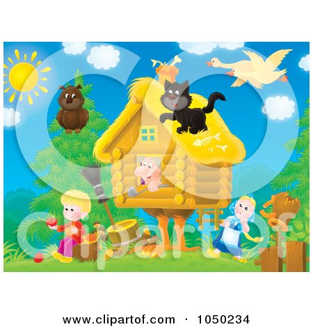 Royalty-Free (RF) Clip Art Illustration of Animals Surrounding A Cottage by Alex Bannykh
