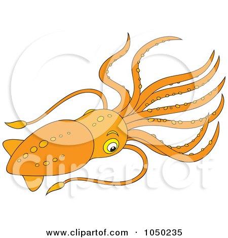 Royalty-Free (RF) Clip Art Illustration of an Orange Squid by Alex Bannykh