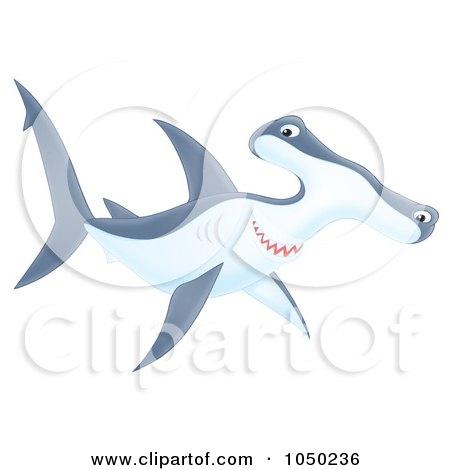 Royalty-Free (RF) Clip Art Illustration of a Swimming Hammerhead Shark by Alex Bannykh