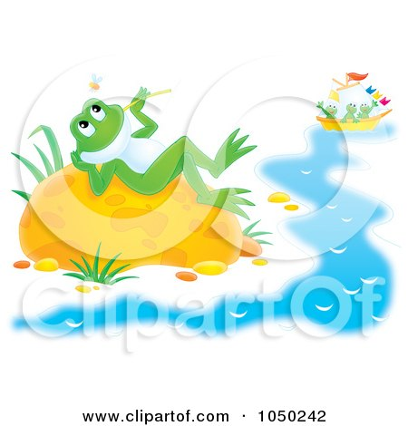Royalty-Free (RF) Clip Art Illustration of a Reclined Frog Watching Bugs While Others Sail by Alex Bannykh