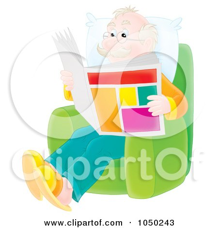 Royalty-Free (RF) Clip Art Illustration of a Senior Man Reading A Newspaper by Alex Bannykh