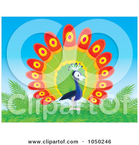 Royalty-Free (RF) Clip Art Illustration of a Peacock On A Hill by Alex Bannykh