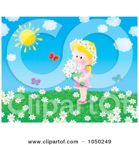 Royalty-Free (RF) Clip Art Illustration of a Girl Holding Flowers In A Summer Field by Alex Bannykh