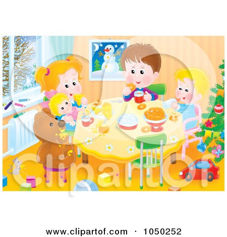 Royalty-Free (RF) Clip Art Illustration of Siblings Playing At A Table by Alex Bannykh
