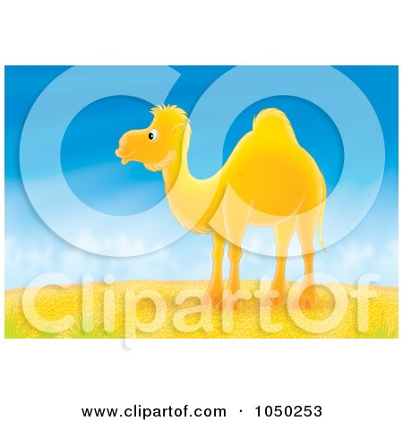 Royalty-Free (RF) Clip Art Illustration of a Camel In A Desert by Alex Bannykh