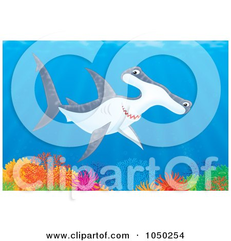 Royalty-Free (RF) Clip Art Illustration of a Hammerhead Shark Over A Coral Reef by Alex Bannykh
