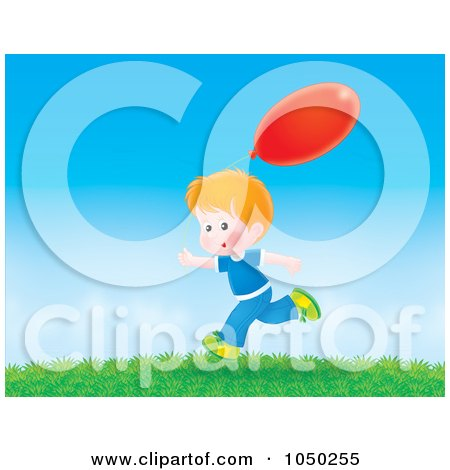Royalty-Free (RF) Clip Art Illustration of a Boy Running Outdoors With A Red Balloon by Alex Bannykh