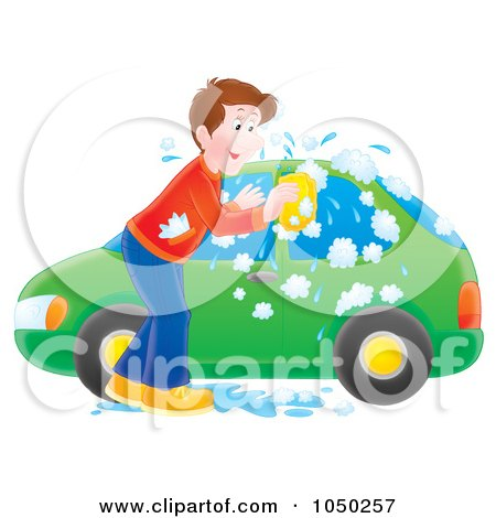 Royalty-Free (RF) Clip Art Illustration of a Man Washing His Tiny Green Car by Alex Bannykh