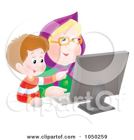 Royalty-Free (RF) Clip Art Illustration of a Boy Teaching His Granny How To Use A Computer by Alex Bannykh