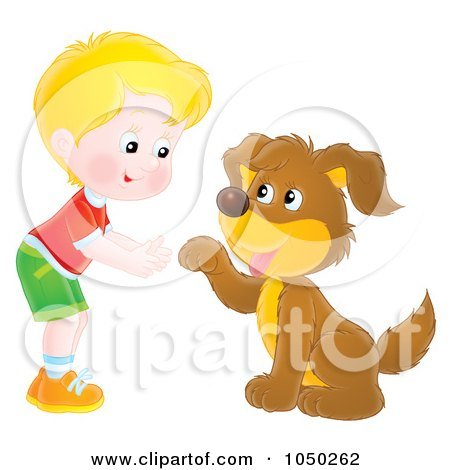 Royalty-Free (RF) Clip Art Illustration of a Boy Teaching His Dog How To Shake Hands by Alex Bannykh