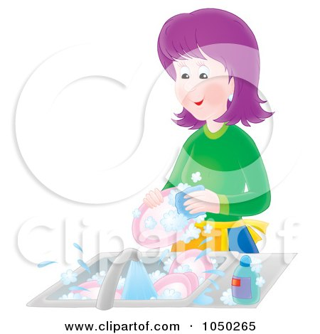 Royalty-Free (RF) Clip Art Illustration of a Purple Haired Woman Washing Dishes by Alex Bannykh