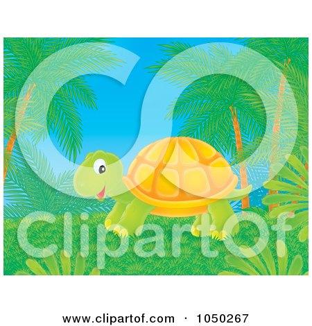Royalty-Free (RF) Clip Art Illustration of a Tortoise Under Palm Trees by Alex Bannykh