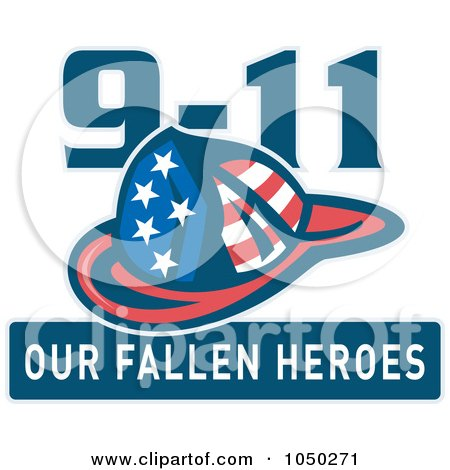 Royalty-free clipart illustration of a fireman helmet with 9-11 our fallen