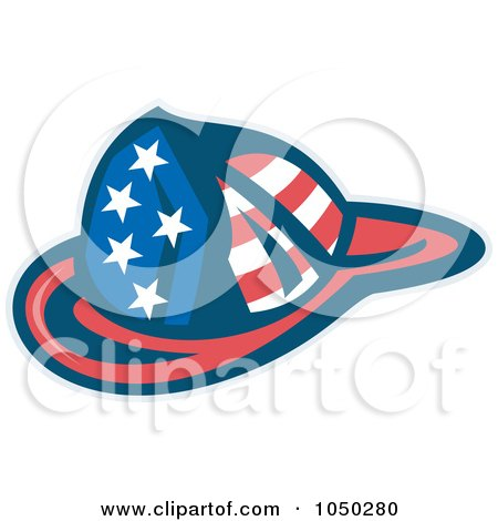 Royalty-free clipart illustration of an american fireman helmet,