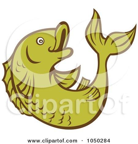 Royalty-Free (RF) Clip Art Illustration of a Green Koi Fish - 2 by patrimonio