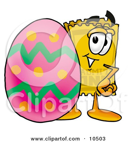 Clipart Picture of a Yellow Admission Ticket Mascot Cartoon Character Standing Beside an Easter Egg by Toons4Biz