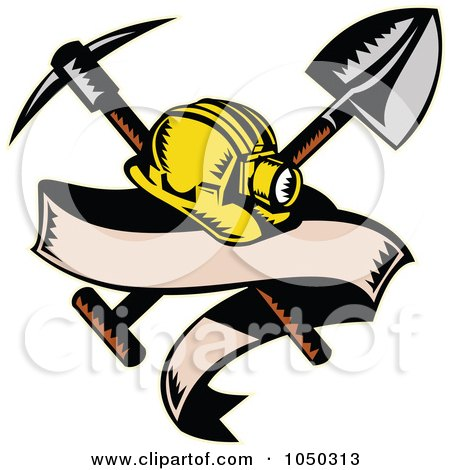 Royalty-Free (RF) Clip Art Illustration of a Miner Hat With A Shovel And Pickax And Blank Banner by patrimonio