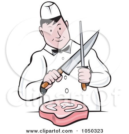Royalty-Free (RF) Clip Art Illustration of a Butcher Cutting Meat by patrimonio