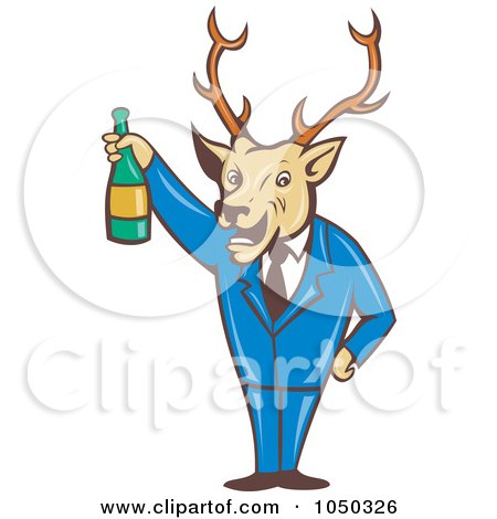 Royalty-Free (RF) Clip Art Illustration of a Deer Holding Wine by patrimonio