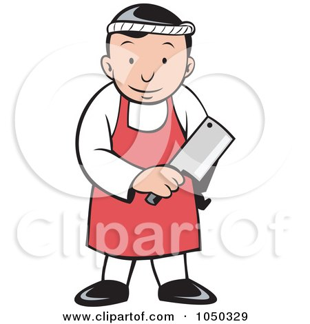 Royalty-Free (RF) Clip Art Illustration of a Butcher Holding A Cleaver by patrimonio
