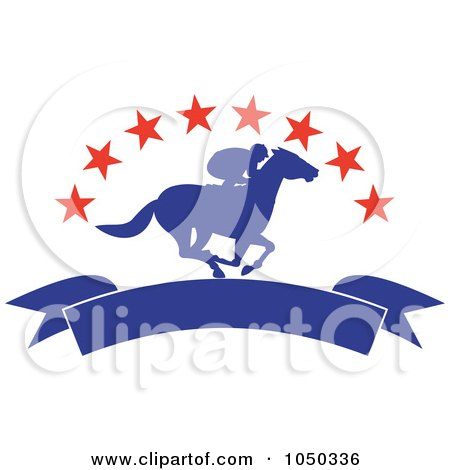 Royalty-Free (RF) Clip Art Illustration of a Silhouetted Blue Jockey And Banner Under Red Stars by patrimonio