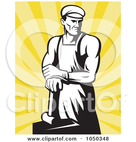 Royalty-Free (RF) Clip Art Illustration of a Black And White Blacksmith Over Yellow Rays by patrimonio