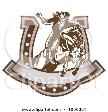 Royalty-Free (RF) Clip Art Illustration of a Retro Rodeo Cowboy And Horse Leaping Through A Horseshoe Banner by patrimonio