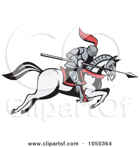 Royalty-Free (RF) Clip Art Illustration of a Jousting Knight With A Spear On A Running Horse by patrimonio