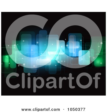 Royalty-Free (RF) Clip Art Illustration of an Abstract Background Of Blue And Green Sparkles On Black by KJ Pargeter