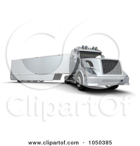 Royalty-Free (RF) Clip Art Illustration of a 3d Semi Truck by KJ Pargeter