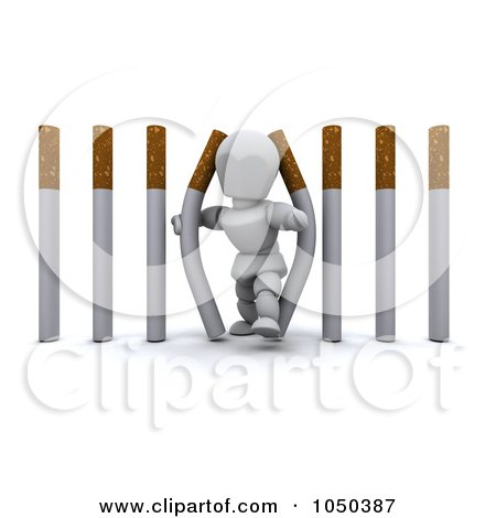 Royalty-Free (RF) Clip Art Illustration of a 3d White Character Walking Through Cigarette Bars by KJ Pargeter