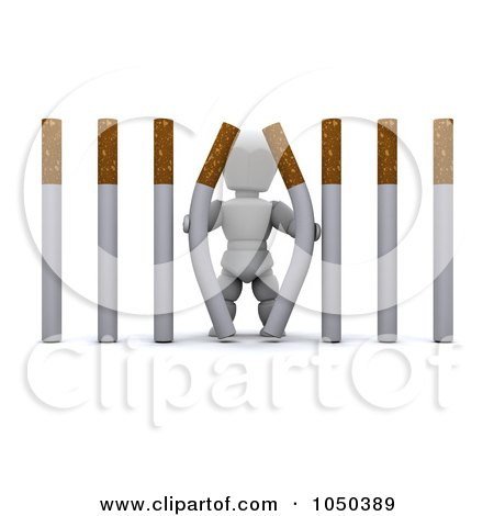 Royalty-Free (RF) Clip Art Illustration of a 3d White Character Pulling Apart Cigarette Bars by KJ Pargeter