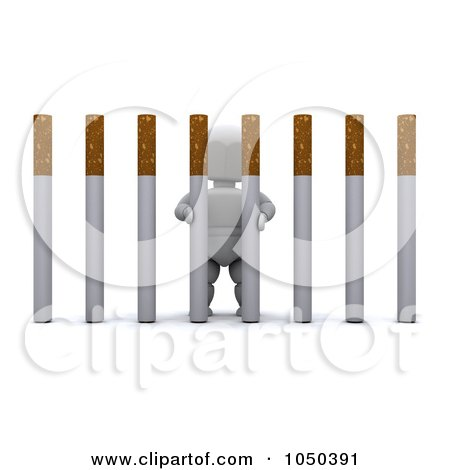 Royalty-Free (RF) Clip Art Illustration of a 3d White Character Behind Cigarette Bars by KJ Pargeter