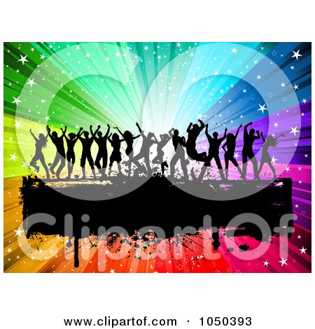 Royalty-Free (RF) Clip Art Illustration of Silhouetted Dancers Over A Grungy Black Bar On A Rainbow Burst by KJ Pargeter
