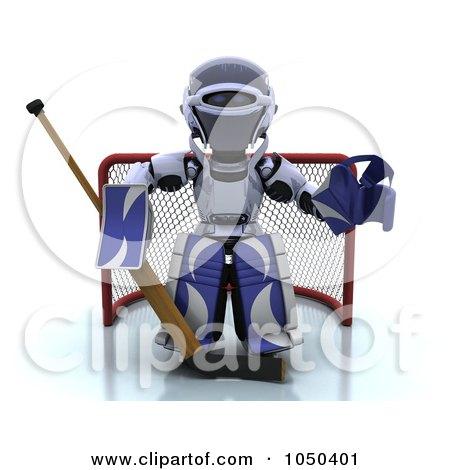 Royalty-Free (RF) Clip Art Illustration of a 3d Robot Goalie by KJ Pargeter