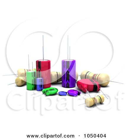 Royalty-Free (RF) Clip Art Illustration of 3d Capacitors Resistors And Semi-Conductors by KJ Pargeter